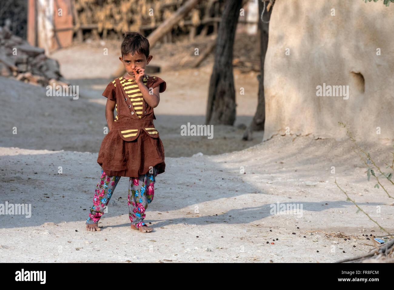 little girl in a tribal village near Jodhpur, India Stock Photo