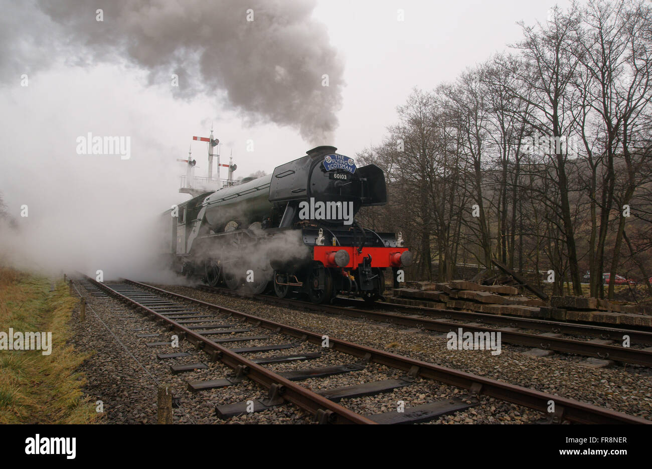 Flying Scotman steam locomotive leaving Goathland station under full steam on the North Yorkshire Moors Heritage - Stock Image