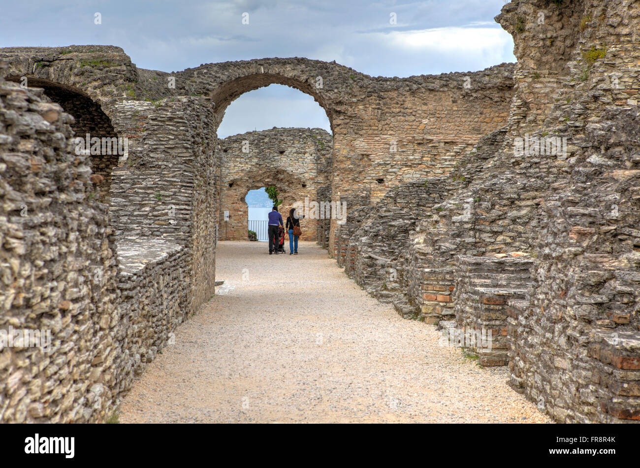 Remains of  Grottoes of Catullus (Grotte di Catullo) in Sirmione, Italy - Stock Image