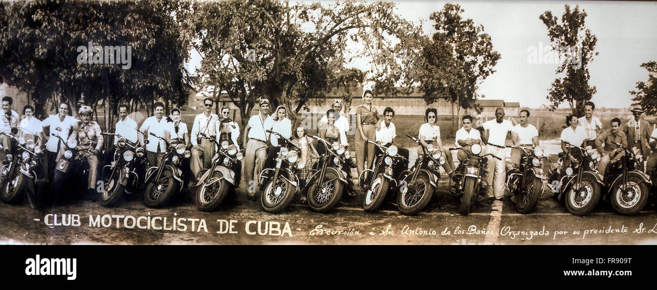 Cuba La Havane Club motociclista Salzedo Stock Photo