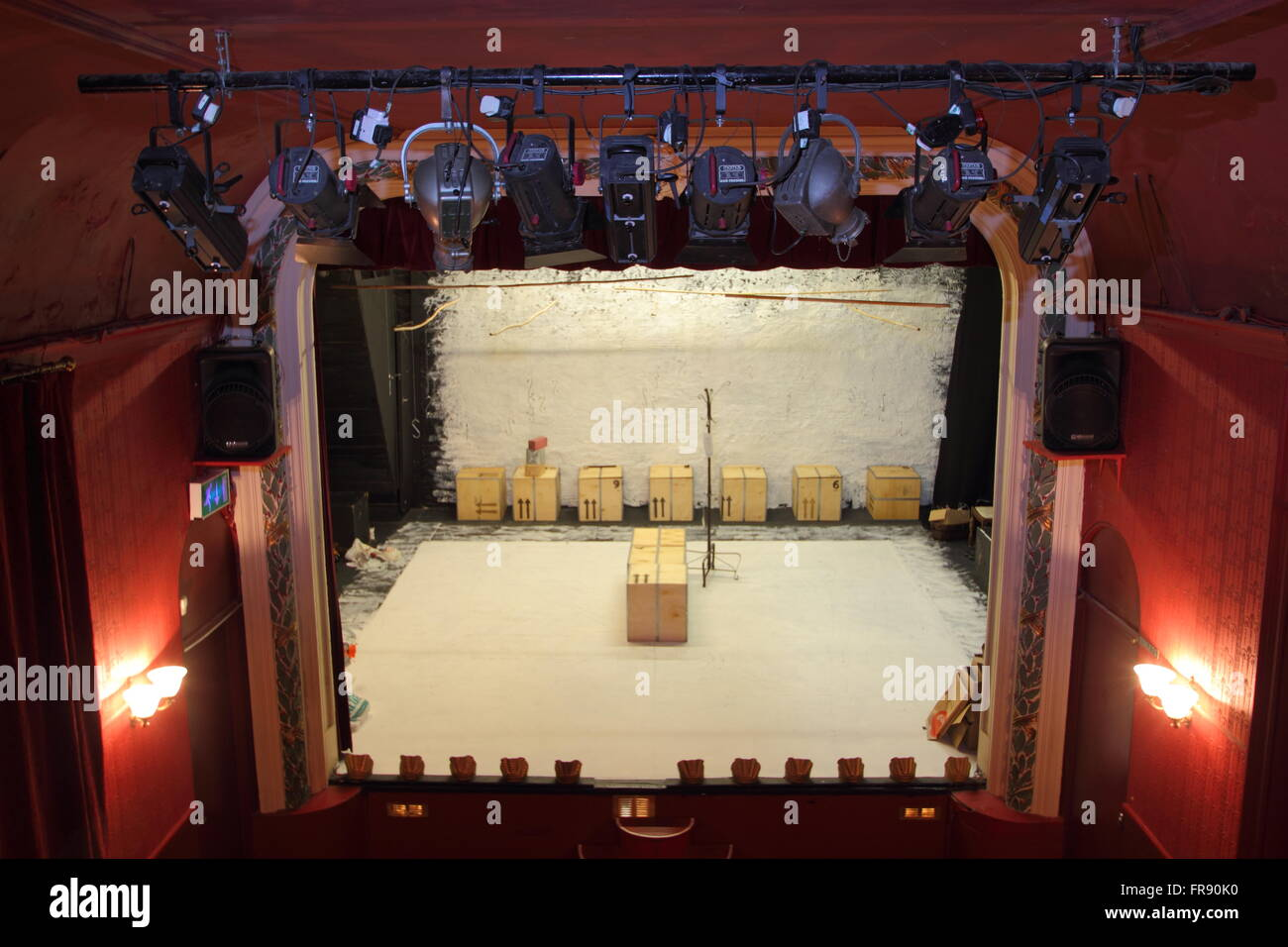 Lighting rig and stage props inside the Lantern Theatre Sheffield seen from the balcony Sheffield South Yorkshire England UK & Lighting rig and stage props inside the Lantern Theatre Sheffield ...