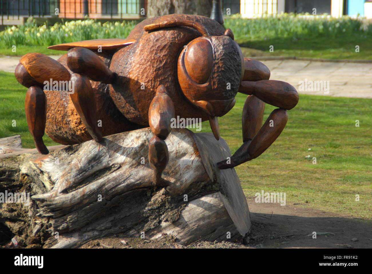 A wooden queen bee sculpture shaped from a fallen elm tree by artist, Andrew Frost to mark the insect's role - Stock Image