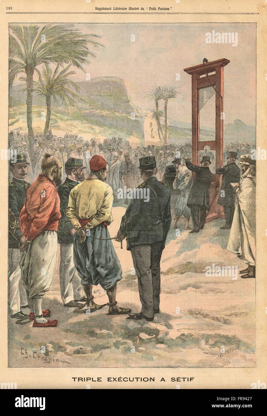 Triple execution, Setif, Algeria 1900 - Stock Image