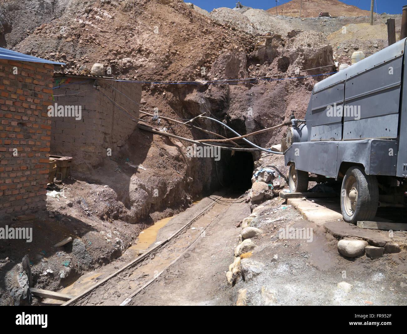 Entrance to silver mine in Potosi Bolivia - Stock Image