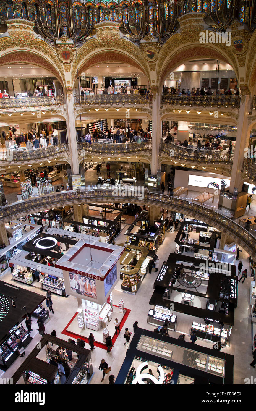 Inside the Galeries Lafayette in Paris France - Stock Image