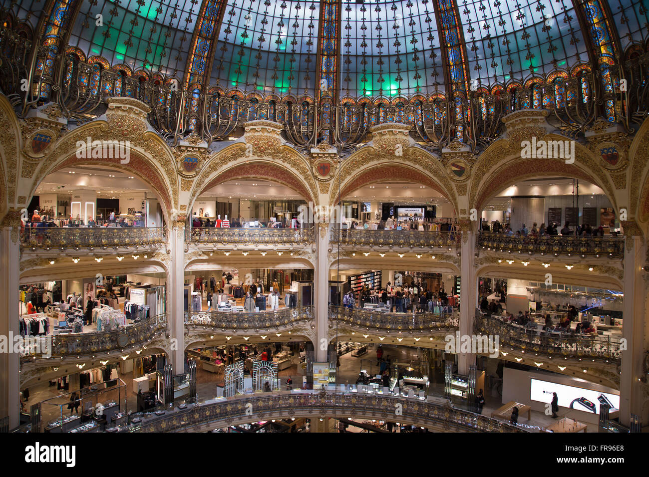 Inside the Galeries Lafayette in Paris France in winter - Stock Image