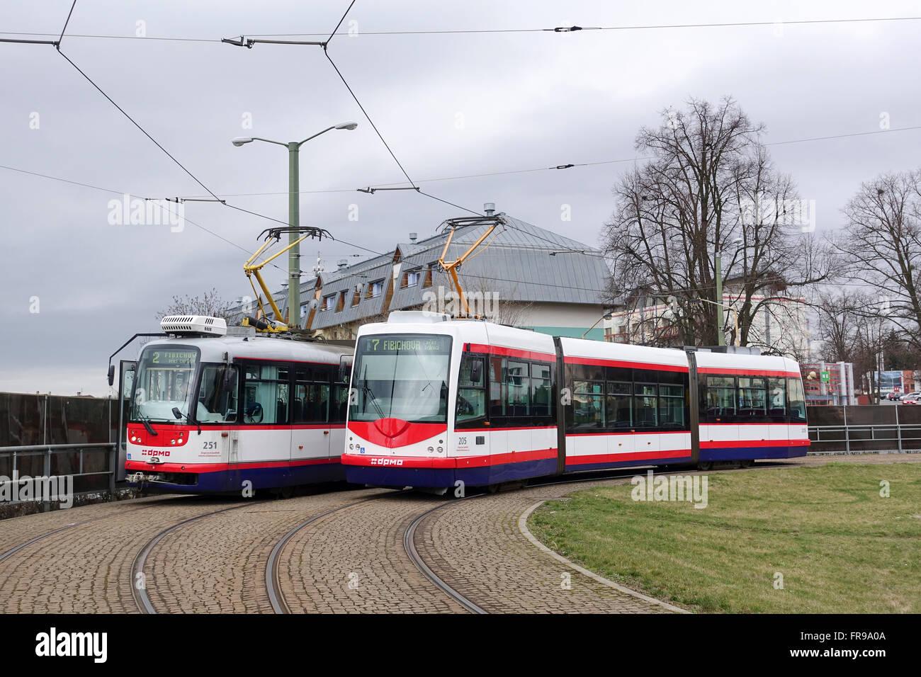 Olomouc Trams at Fibichour Balloon Loop Czech Republic - Stock Image