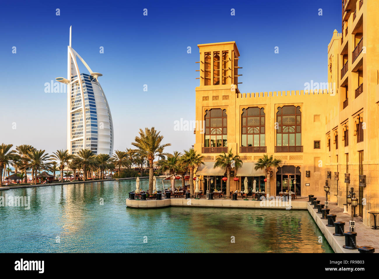 View of Burj Al Arab hotel from Madinat Jumeirah hotel in Dubai, United Arab Emirates, Middle East - Stock Image