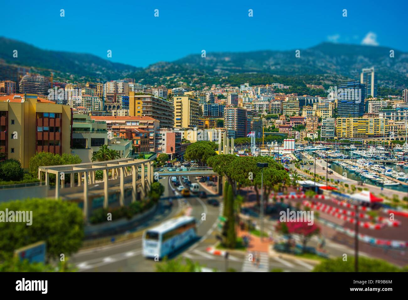 Monte Carlo Cityscape. Port Hercule and the City of Monte Carlo, Monaco. - Stock Image