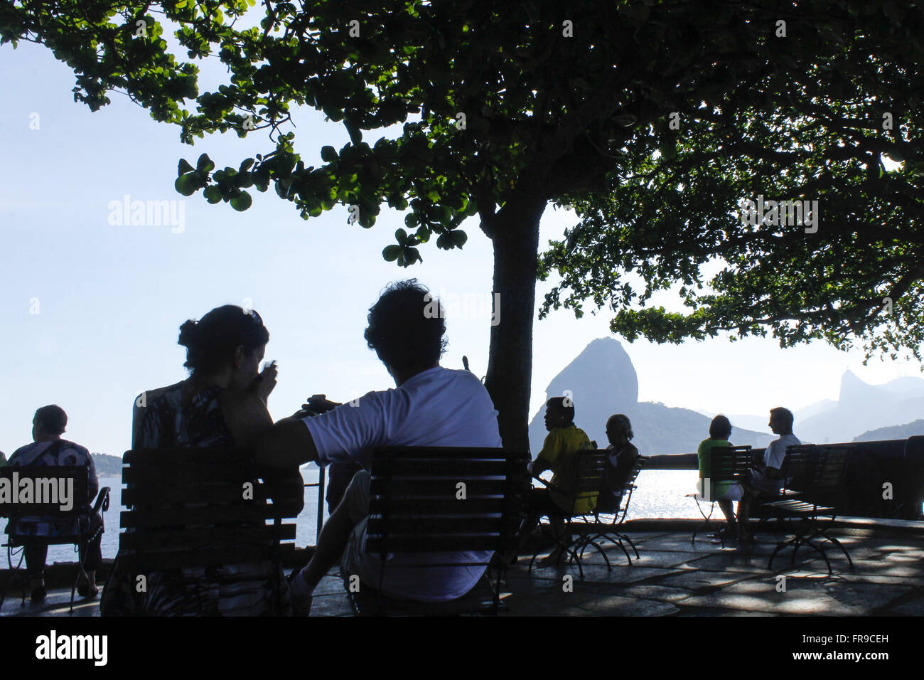 People observe the landscape from the entrance of Guanabara Bay - Stock Image