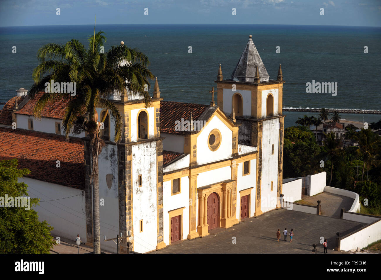 View from Largo da Se with Church of Sao Salvador do Mundo and sea in the background in the city of Olinda - PE Stock Photo