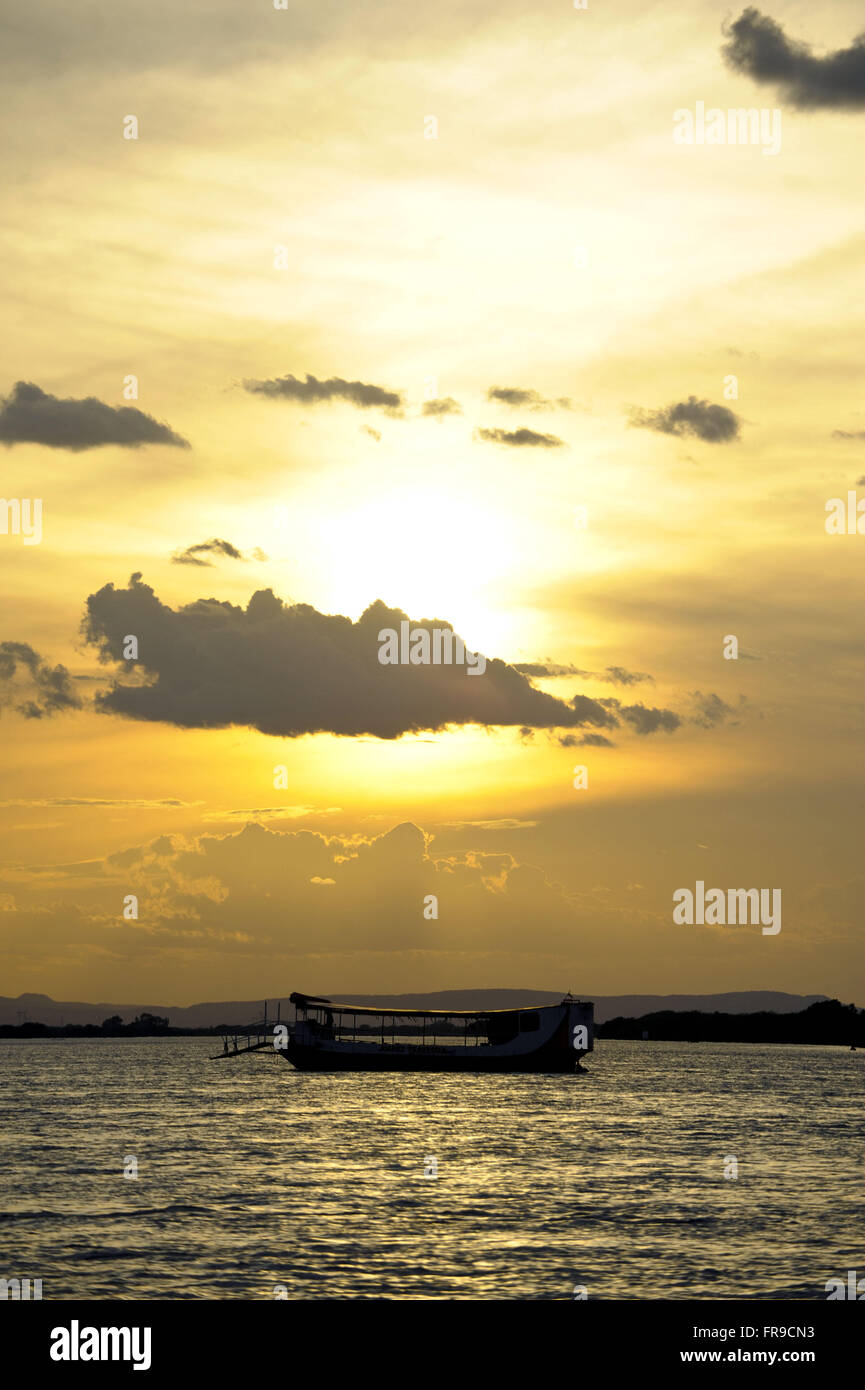 Sunset on the Rio Sao Francisco to watercraft - Stock Image