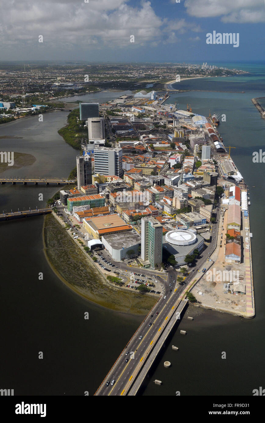 City Center - aerial view - Bairro do Recife - Stock Image