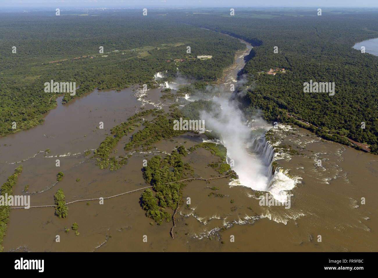 Aerial view of the Devil`s Throat falls in the Iguaçu National Park - Stock Image