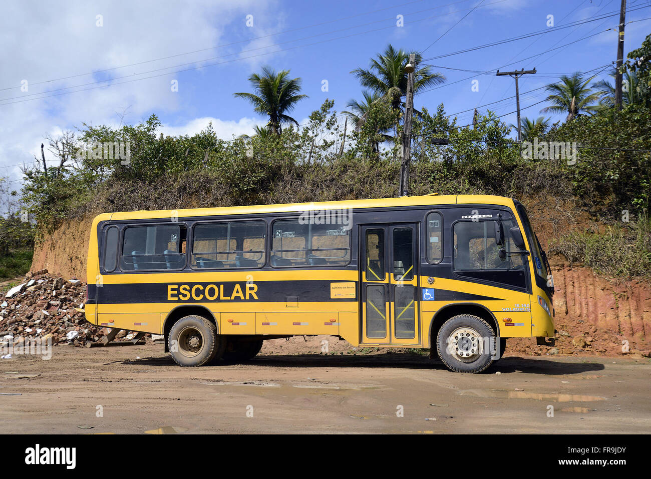 school bus to meet students from rural areas - Stock Image