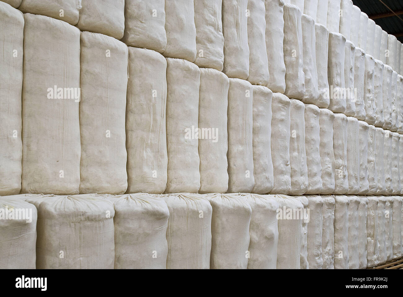 Bales of cotton processing in rural area of Costa Rica plant - Mato Grosso do Sul - Stock Image