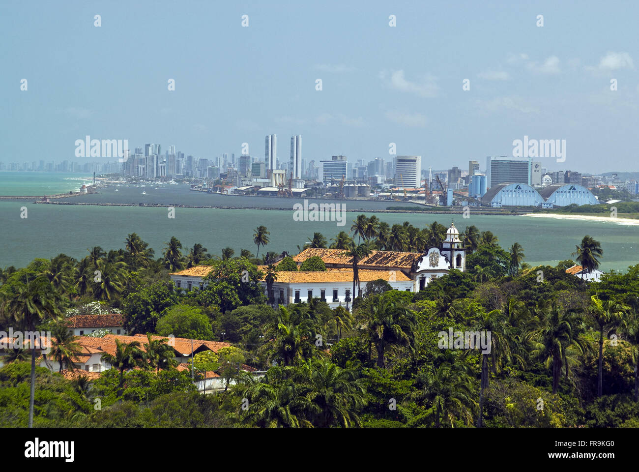 View of the Convent of Santo Antonio in Olinda and Recife in the background - EP - Stock Image
