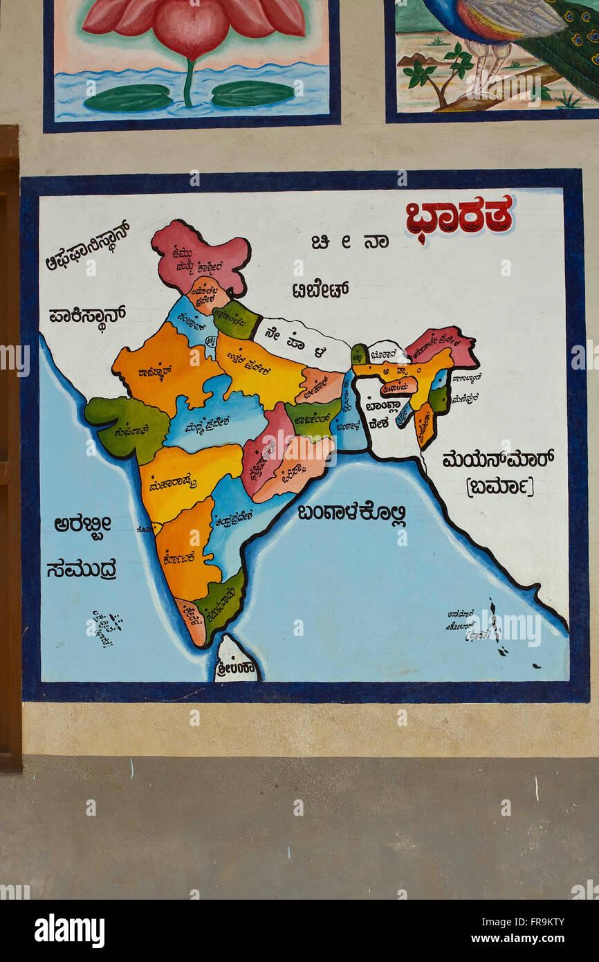 Landkarte Asien.Asien Indien Karnataka Gokarna Indische Landkarte An