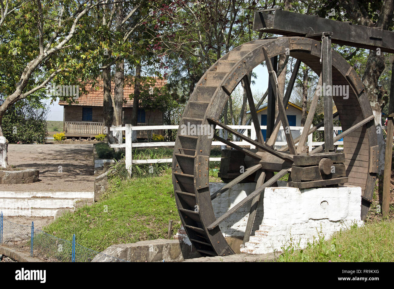 Water wheel used to power mills - Stock Image