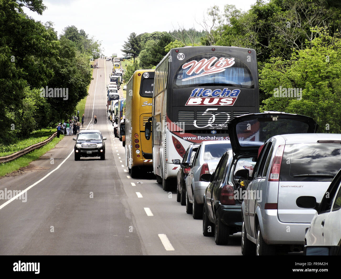 Traffic stopped on Ruta Nacional 12 or 12 RN - Stock Image