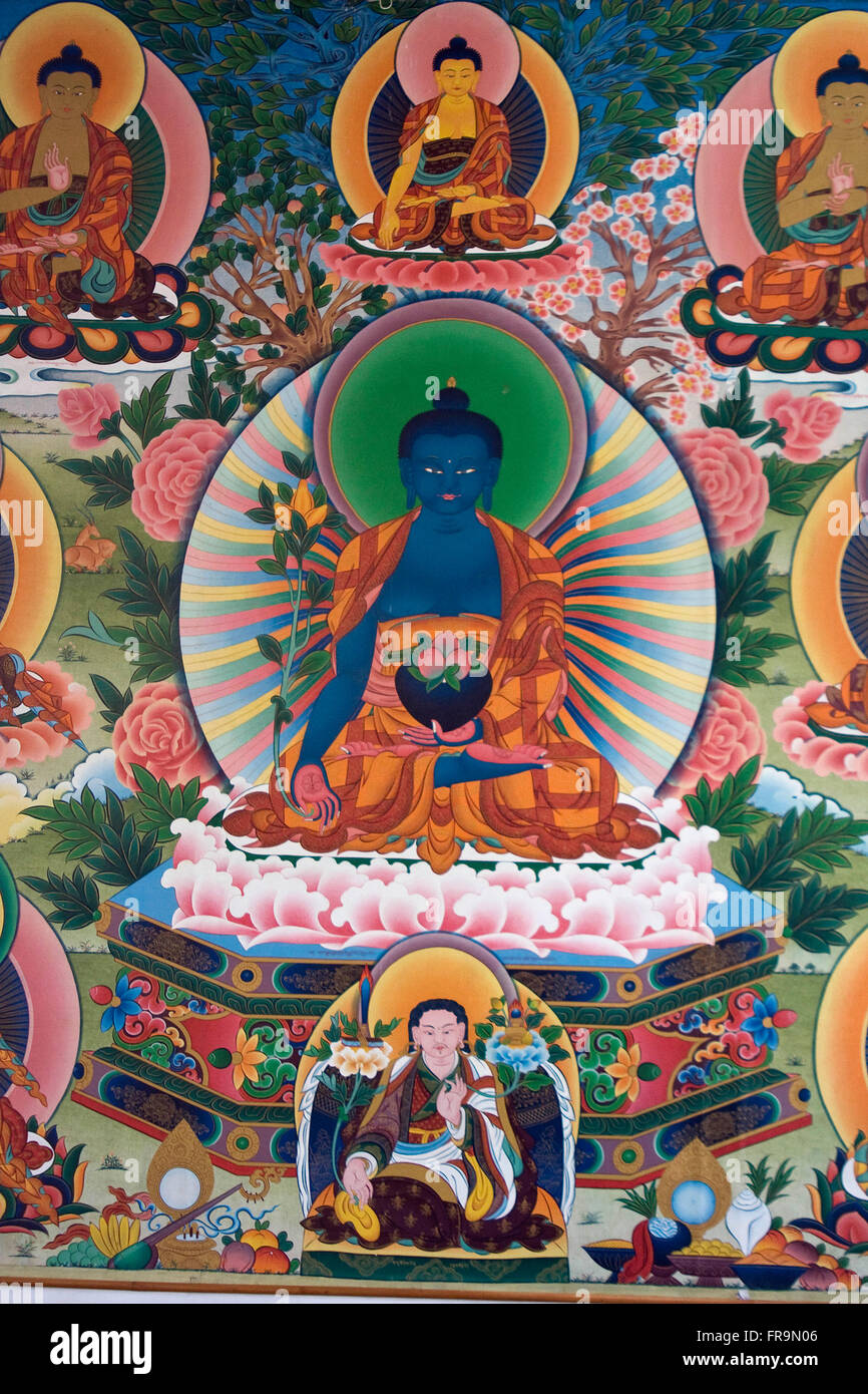 Asien, Indien, Karnataka, Bylakuppe, Goldener Tempel, Buddha - Stock Image