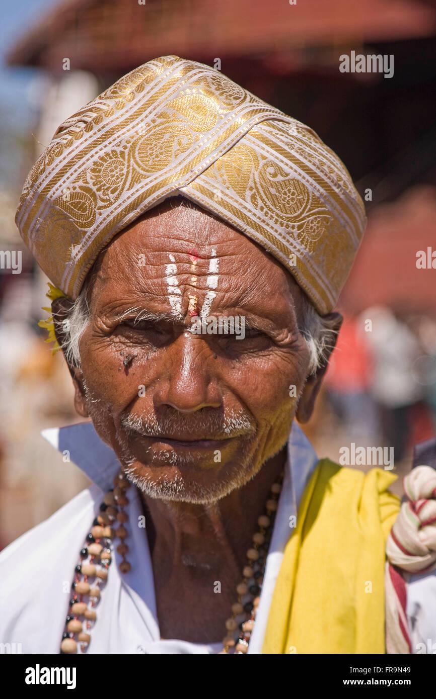 Asia, India, Karnataka, Mysore, Chamundi Hill, Chamundeswari temple, Portrait of an Indian Man Stock Photo