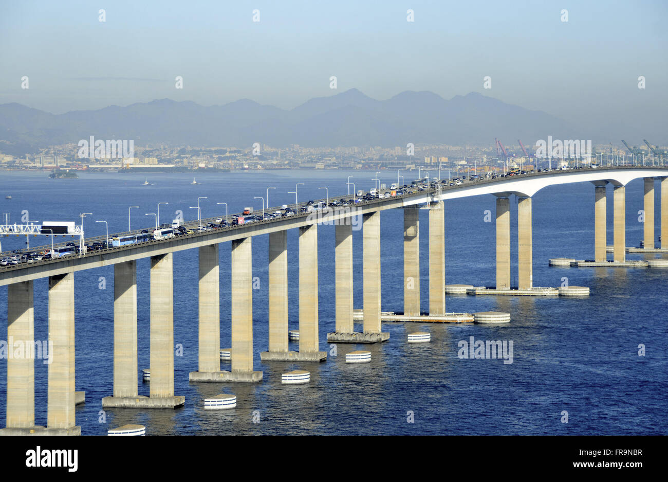 Aerial view of heavy traffic early in the morning in the Rio-Niteroi Bridge - Guanabara Bay Stock Photo