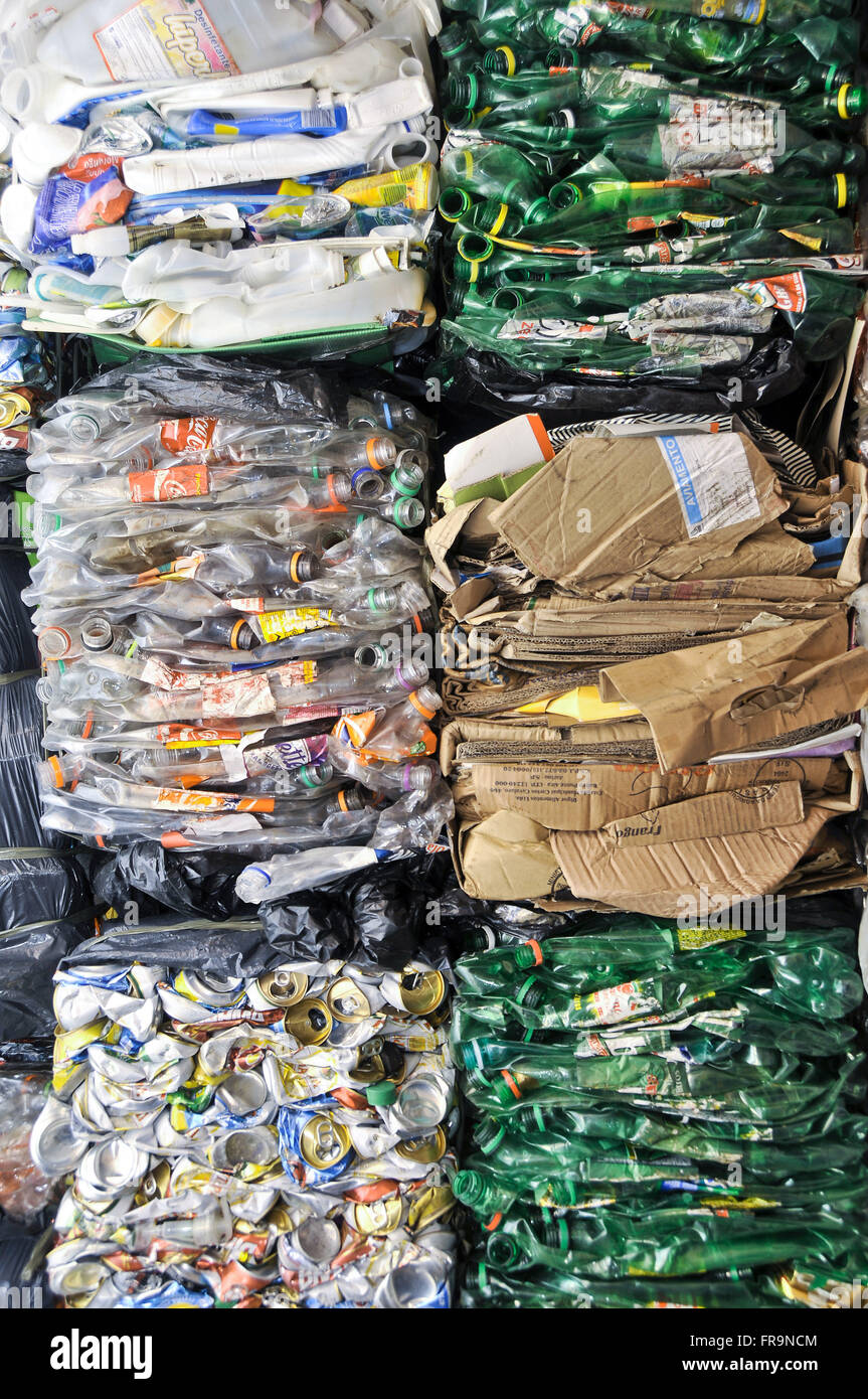 Pressed waste for recycling - Stock Image