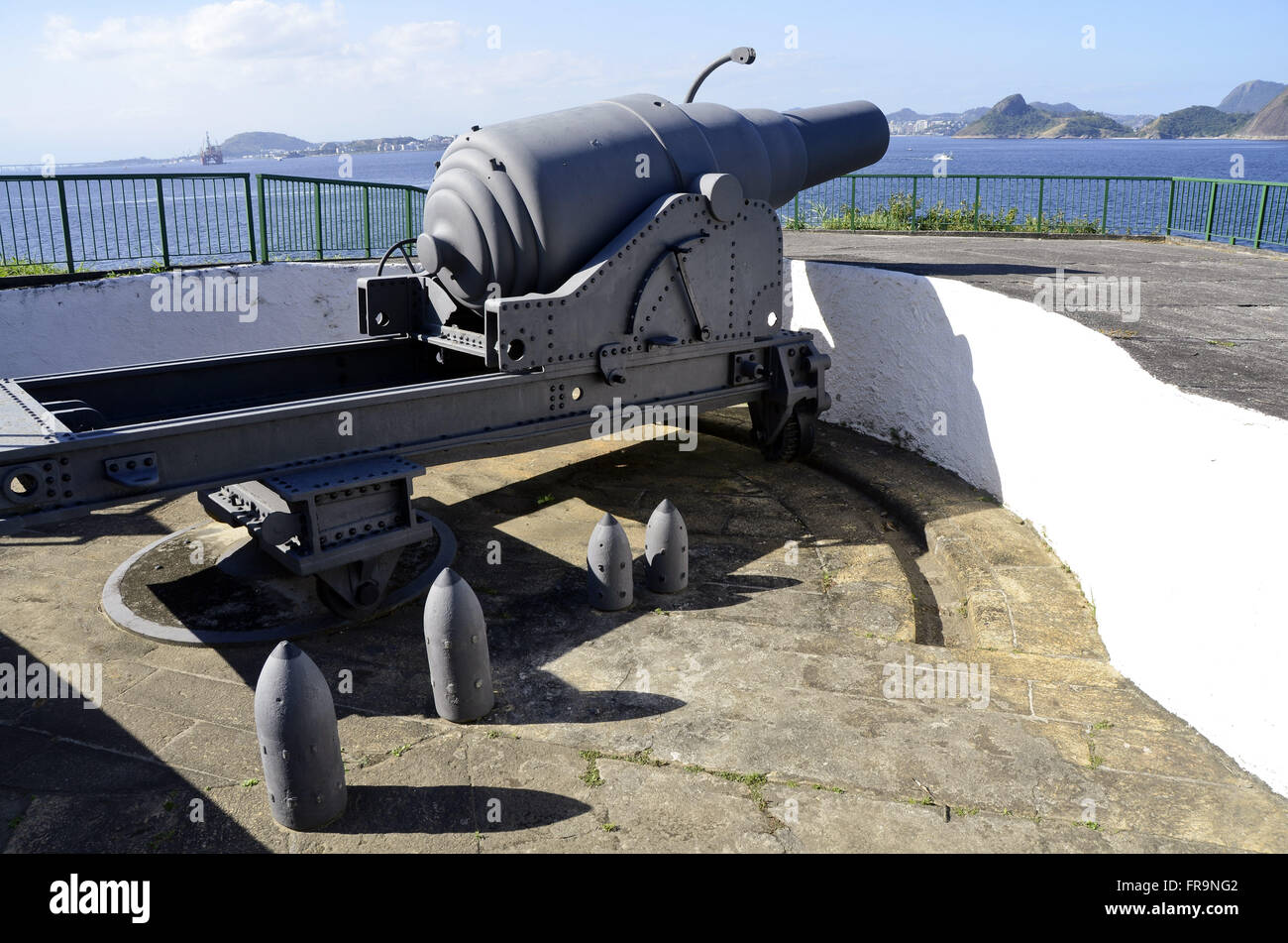 Armstrong cannon and your bullets in Sao Teodosio Redoubt Fortress of Sao Joao - Stock Image