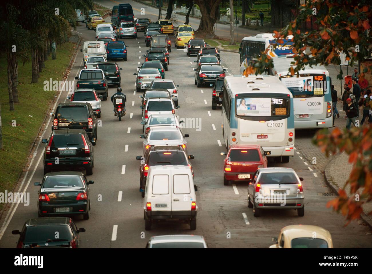 Traffic congestion on the avenue of Sao Conrado neighborhood - south of the city of Rio de Janeiro - Stock Image