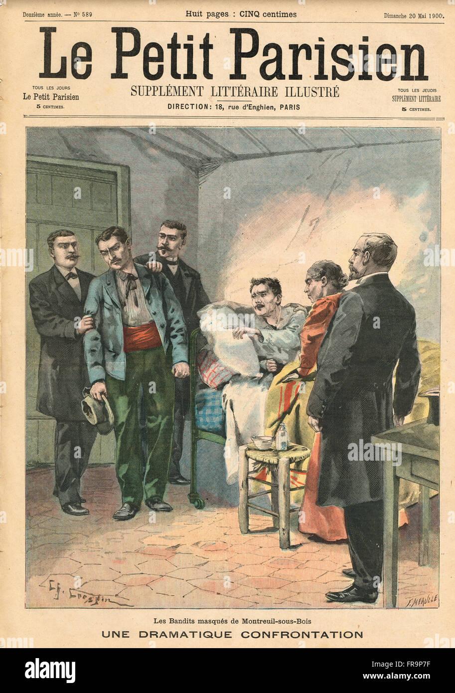 Masked bandits betrayal, Montreuil France 1900 - Stock Image