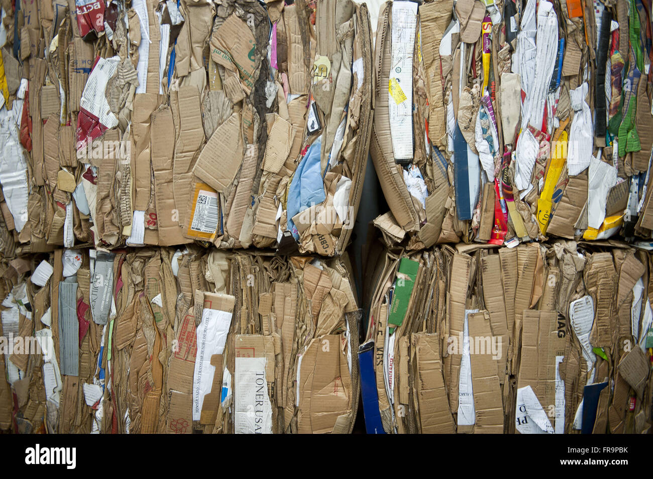 Pressed recyclable garbage for recycling - Stock Image