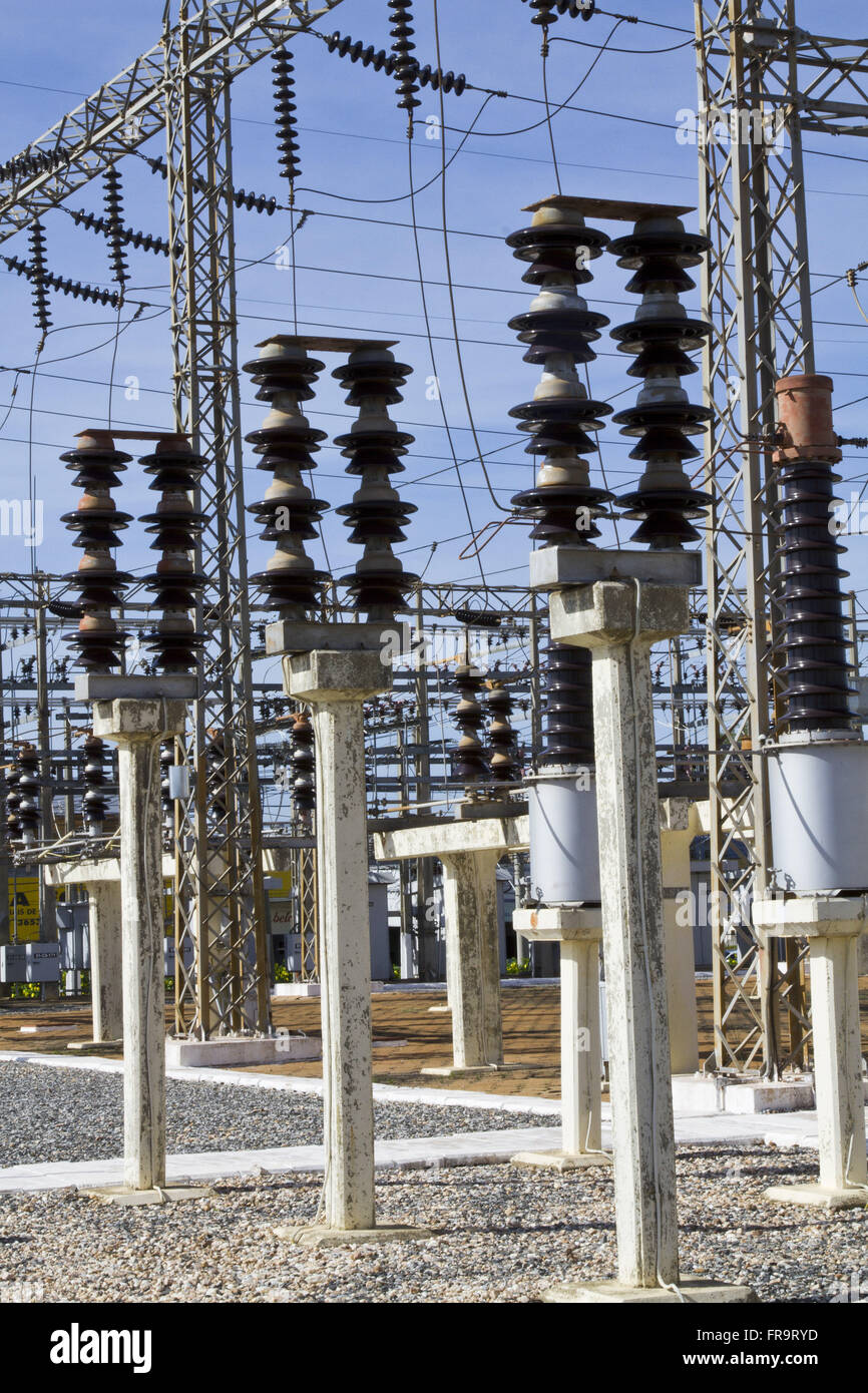 Barro Duro substation CEMAT Network - Central Electric SA Matogrossenses - Stock Image