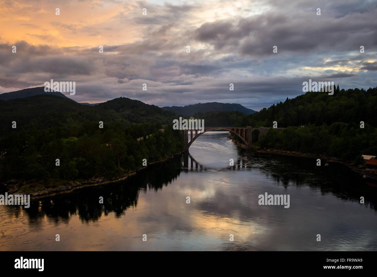 Beautiful landscape at sunset. Storfjorden, Norway - Stock Image