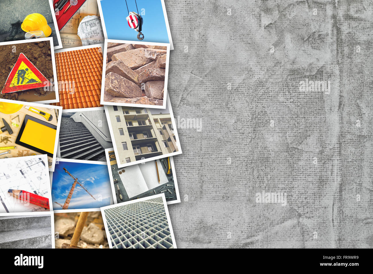 Construction industry themed photo collage with stacked pictures over cement concrete wall texture as copy space. - Stock Image