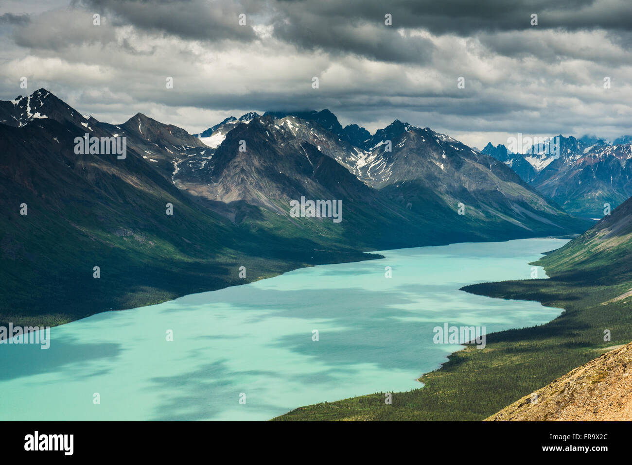 View of upper Twin Lake from a mountain ridge within Lake Clark National Park & Preserve, Alaska. - Stock Image
