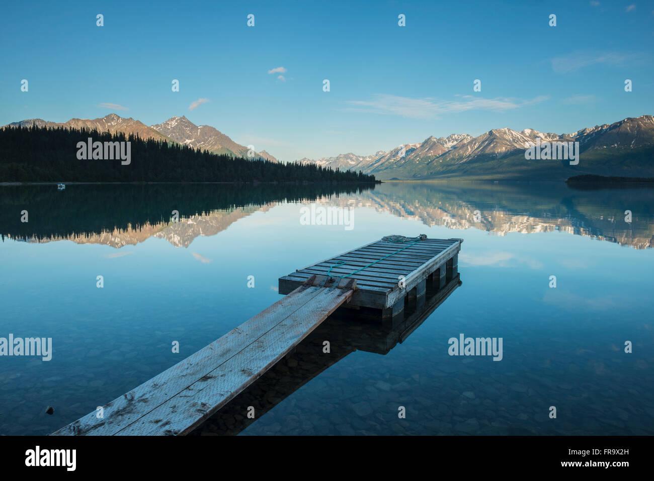 Boat dock at a homestead on Lake Clark in Lake Clark National Park & Preserve, Alaska. - Stock Image