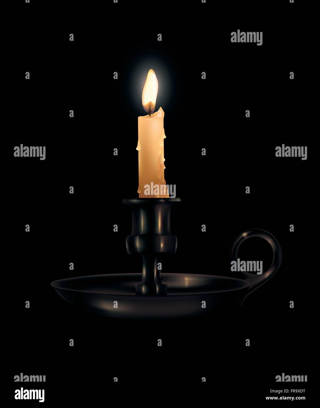 Light,Burning,Candle,Flame,Dark - Stock Vector