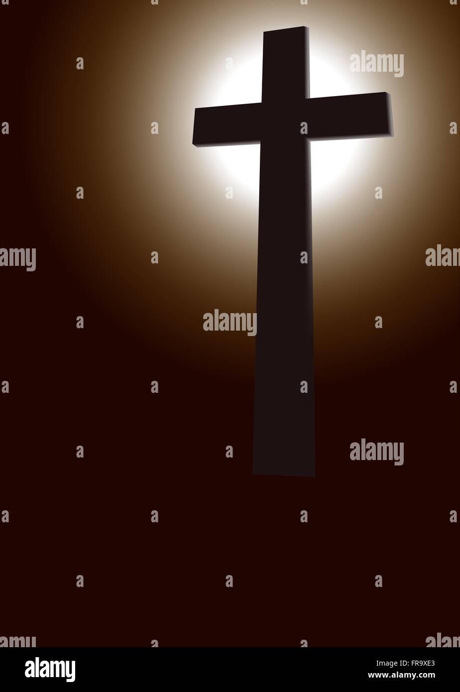 Christianity,Silhouette,Studio,Crucifix - Stock Vector