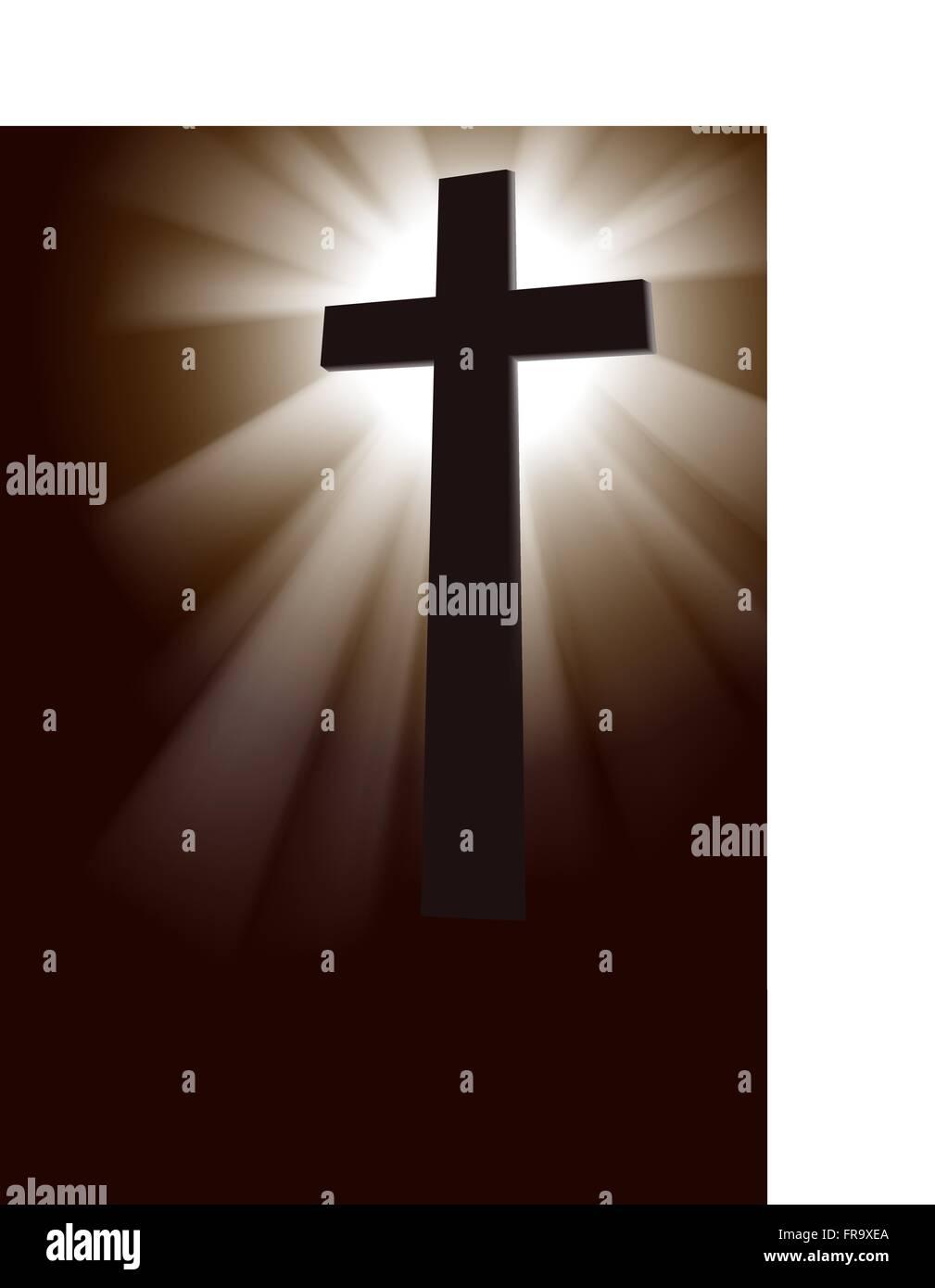 Silhouette,Crucifix,Studio,Christianity - Stock Vector