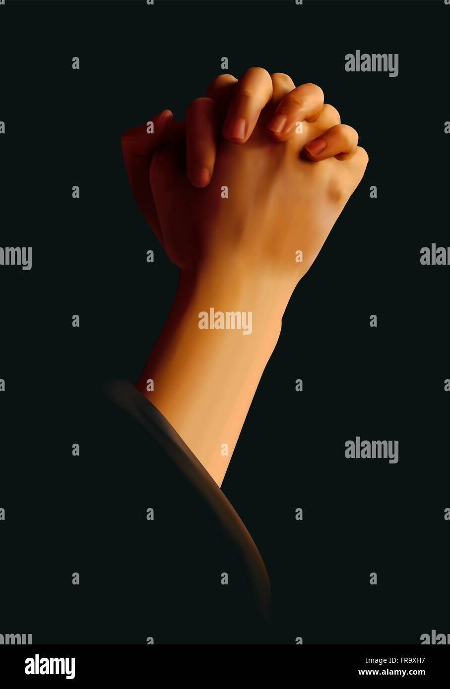 Hands folded in prayer against a black background - Stock Vector