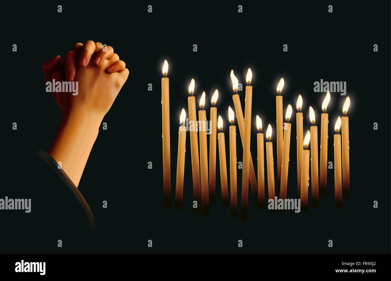 Candles burning and praying hands - Stock Vector