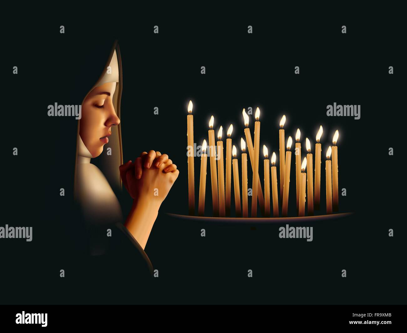 A nun praying beside lit candles - Stock Vector