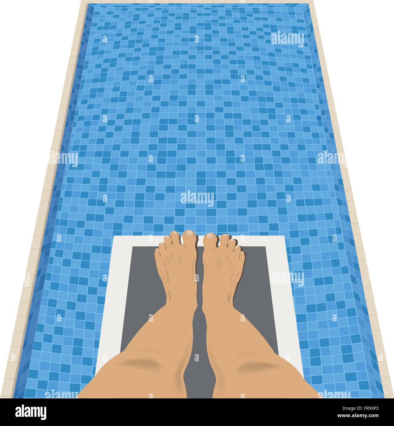 Feet on a diving board above a swimming pool - Stock Vector
