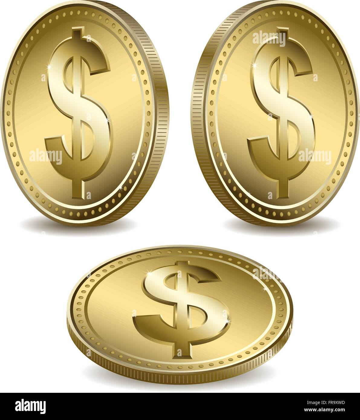 Computer Generated Gold Dollar Symbols On Coins Stock Vector Art