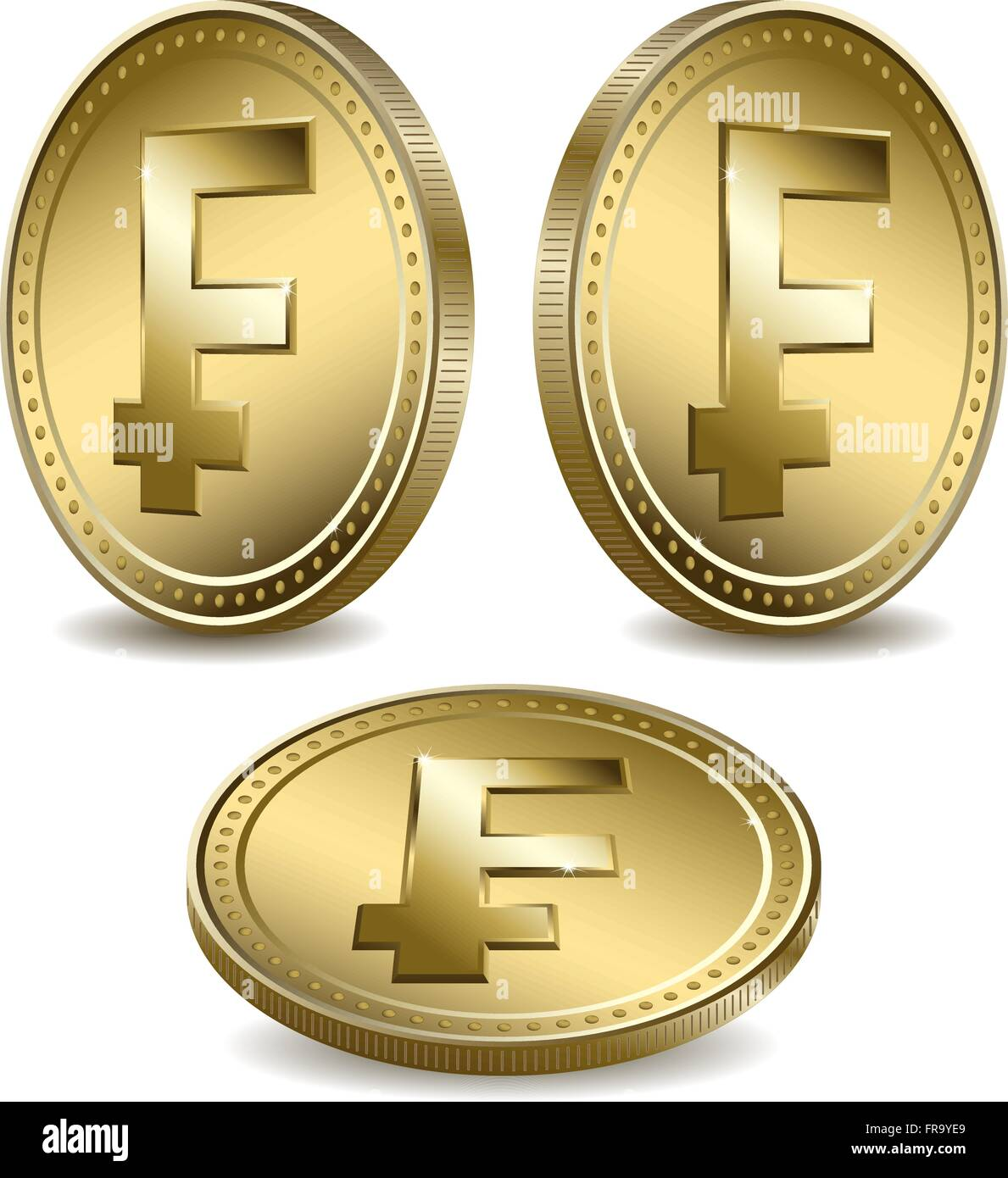 Three Gold Coins With A Currency Symbol Stock Vector Art