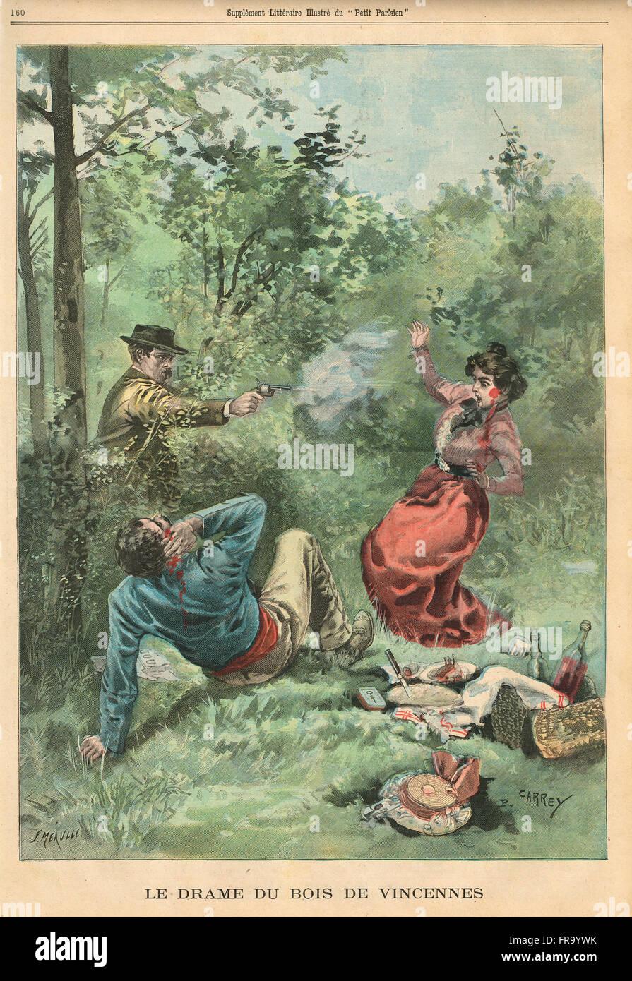 Passion Bois dedans crime of passion at picnic in bois de vincennes, france 1900 stock