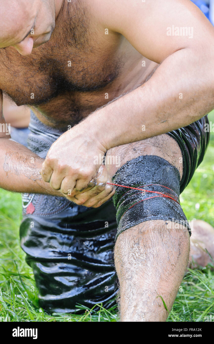 Wrestler getting ready before competition in traditional Kirkpinar wrestling. Stock Photo