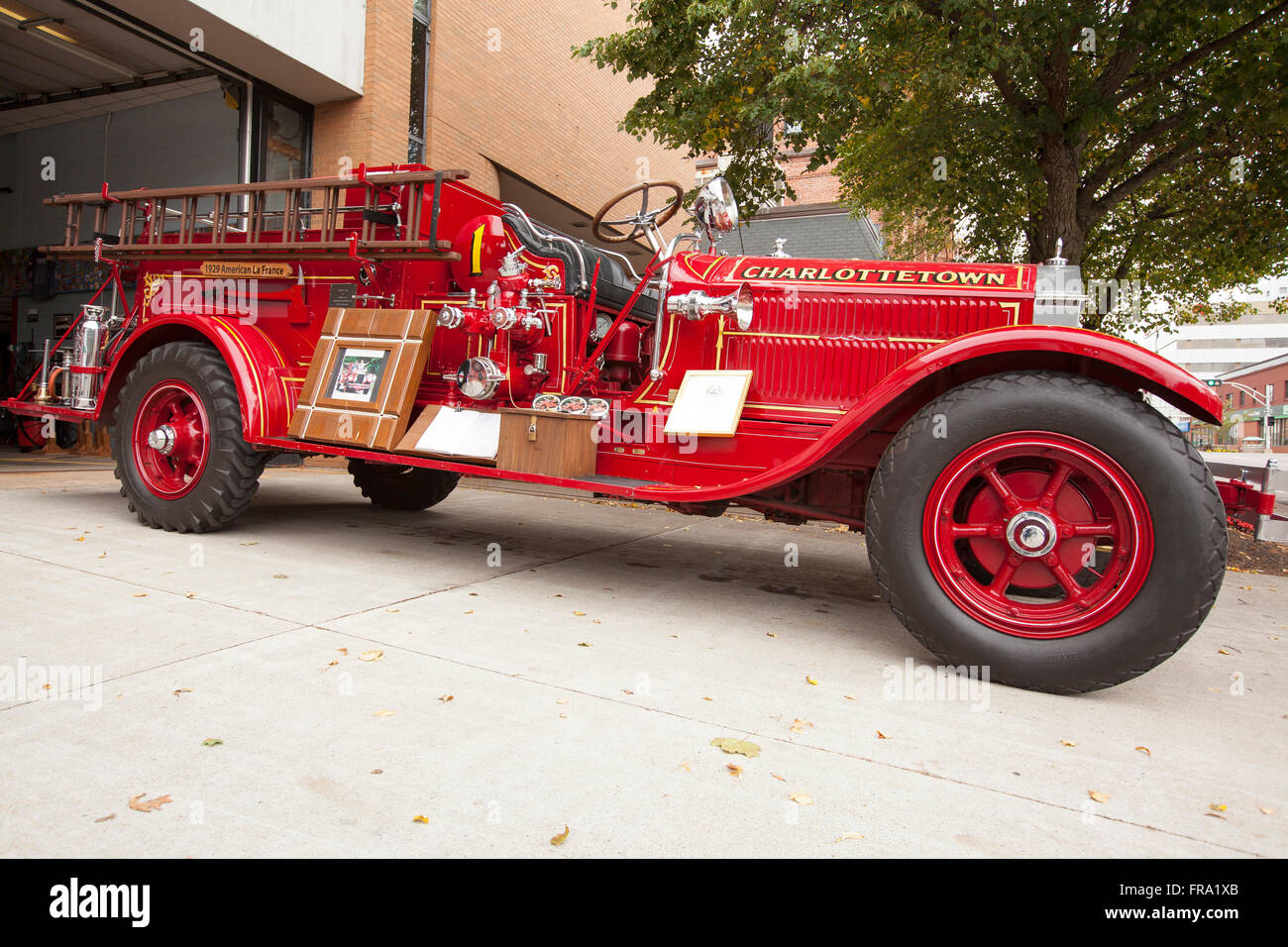 Charlottetown, PEI   SEPTEMBER 2, 2013: A Vintage Fire Truck Manufactured  By LaFrance