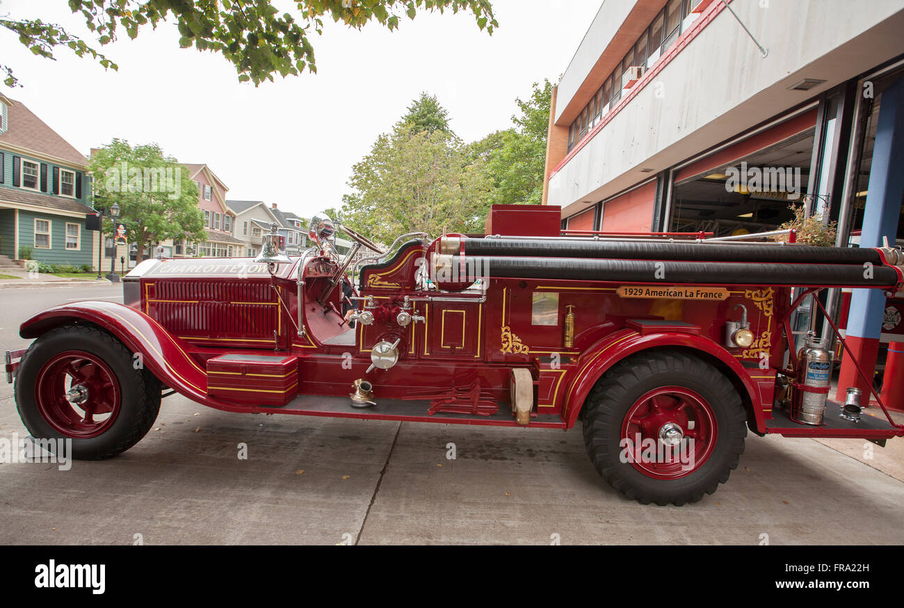Charlottetown, PEI   SEPTEMBER 2, 2013: A 1929 Vintage Fire Truck  Manufactured By
